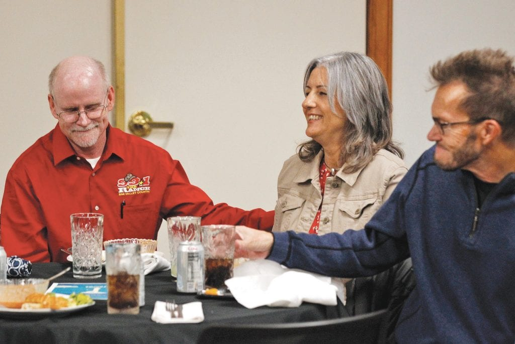 SHARING IS CARING— Thomas Herdering pats Jill Abele on the arm during a Rotary Club of Simi Valley meeting last month. On Aug. 8, Herdering donated a kidney to Abele. RICHARD GILLARD/Acorn Newspapers