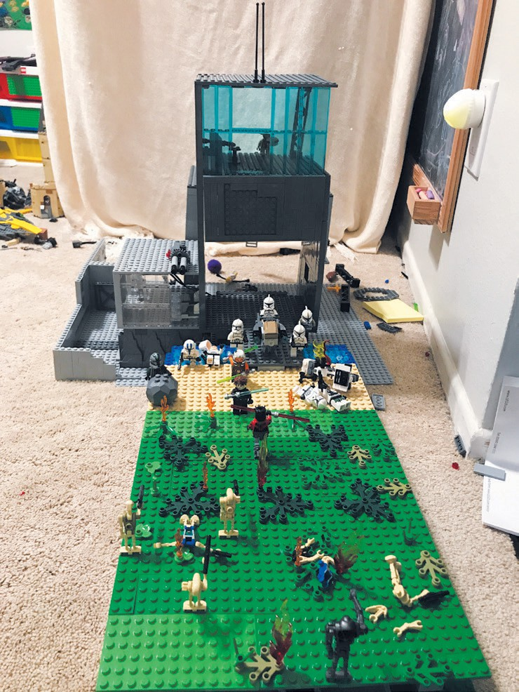 Created by Ethan Ghaffary INTERPLANETARY—A clone base from Star Wars is being attacked by Darth Maul and the droid army. The base, on the planet Naboo, includes a medical area, food court, garage for speeders, command center and landing platform.