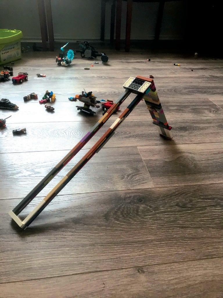 Created by Munir Zanial FUN ZONE—A Lego roller coaster.