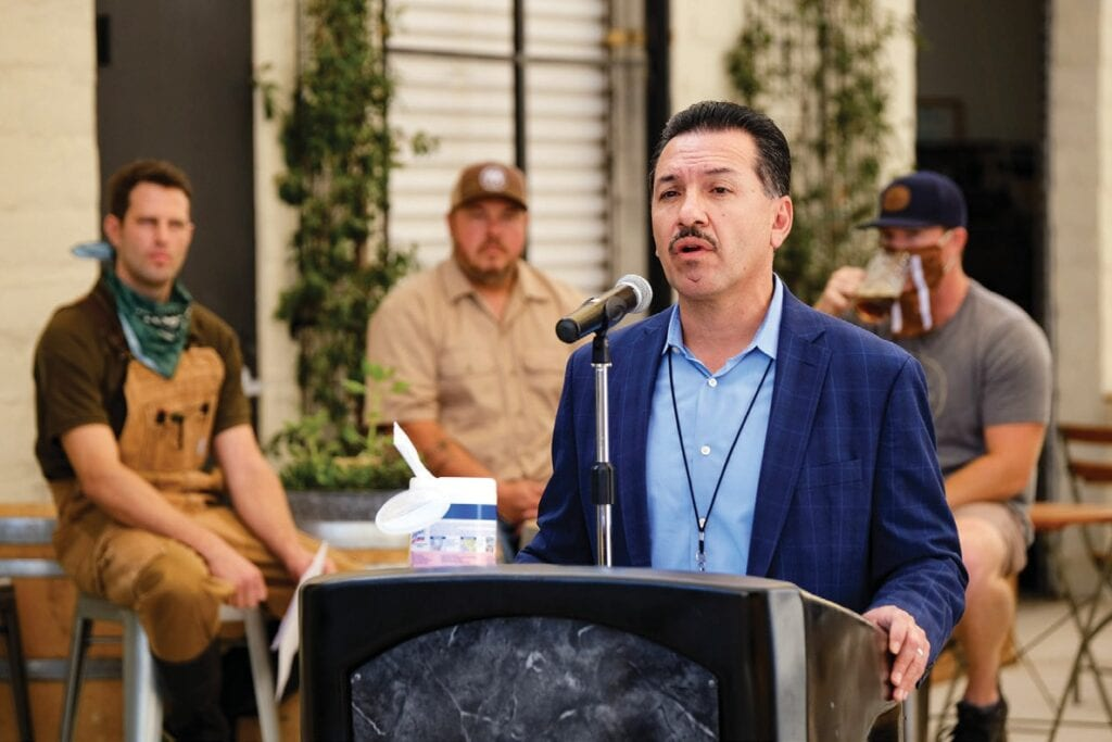 CASE RATE—Ventura County Public Health Director Rigoberto Vargas speaks during a COVID-19 press conference at The Alley in Moorpark on Oct. 21. MICHAEL COONS/Acorn Newspapers