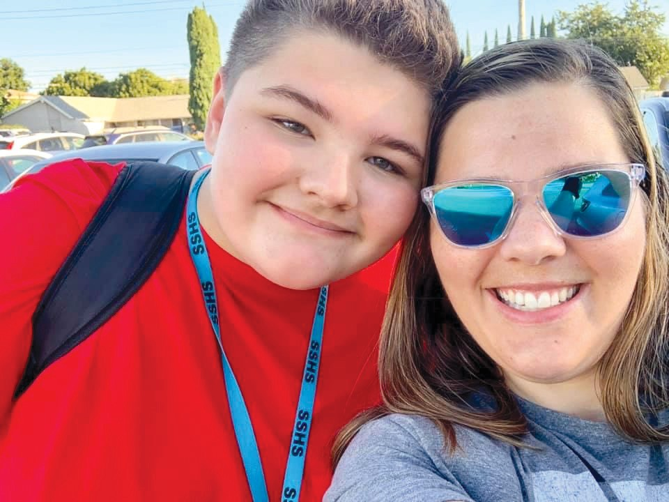 "A LEGACY OF LIGHT— Above, Braden and his mom, Amanda Wilson, taken on his first day at Santa Susana High School. Left, Braden and his cousin Baylee Larcom in December 2015. Clarissa Larcom, Baylee's mom and Braden's aunt, said the two had an extremely close bond and they often called Baylee his ""sister-cousin."""