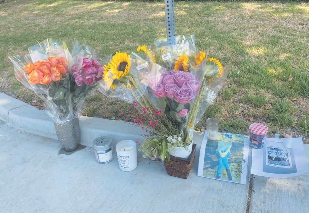 MEMORIAL— Friends and family of Elizabeth Shannon Strull began leaving flowers and other items on the east corner of Stow Street after Strull was killed Tuesday while walking through the crosswalk at Cochran Street. MELISSA SIMON/ Acorn Newspapers