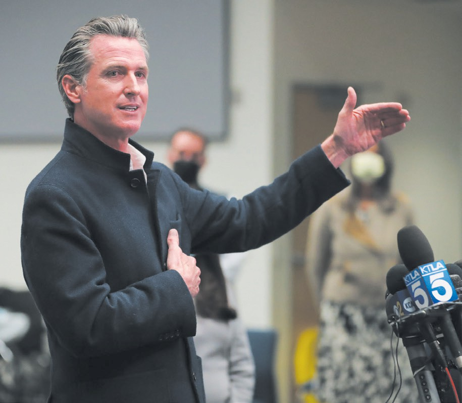 WINNER— Gov. Gavin Newsom speaks during a news conference at a COVID-19 vaccination site inside the Ventura County Office of Education on March 2 in Camarillo. Acorn File Photo